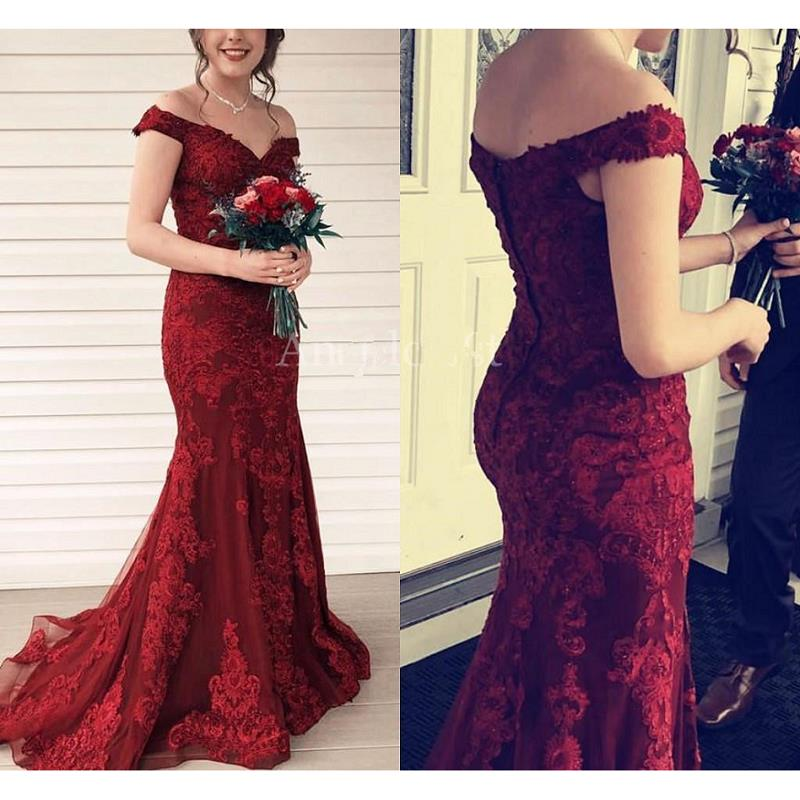 Burgundy Mermaid Evening Dresses Long 2020 vestidos de fiesta de noche Lace Prom Gowns Off The Shoulder Special Occasion Dress