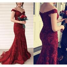 Burgundy Mermaid Evening Dresses Long 2019 vestidos de fiesta noche Lace Prom Gowns Off The Shoulder Special Occasion Dress