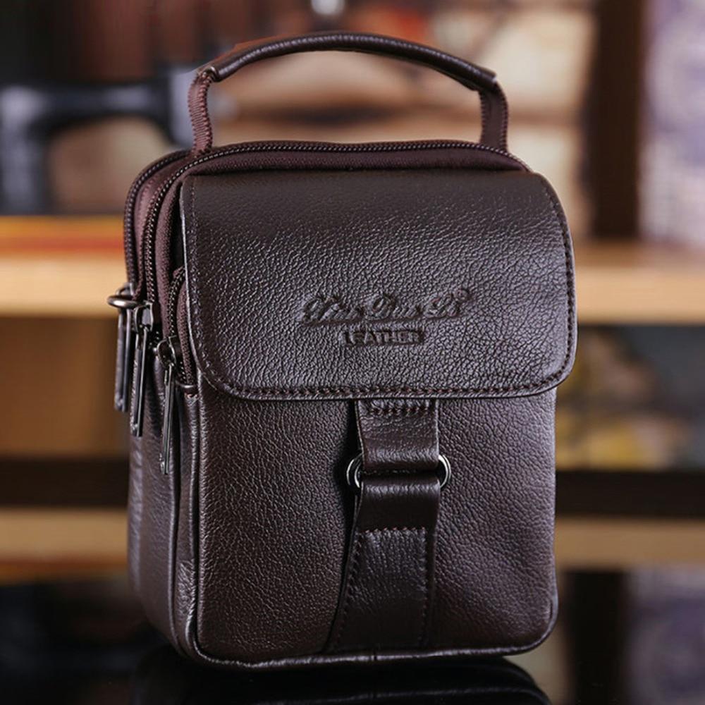 100% Genuine Leather Men Small Tote Handbag Casual Shoulder Messenger Crossbody Bag Multifunction Fanny Waist Pack Belt Purse