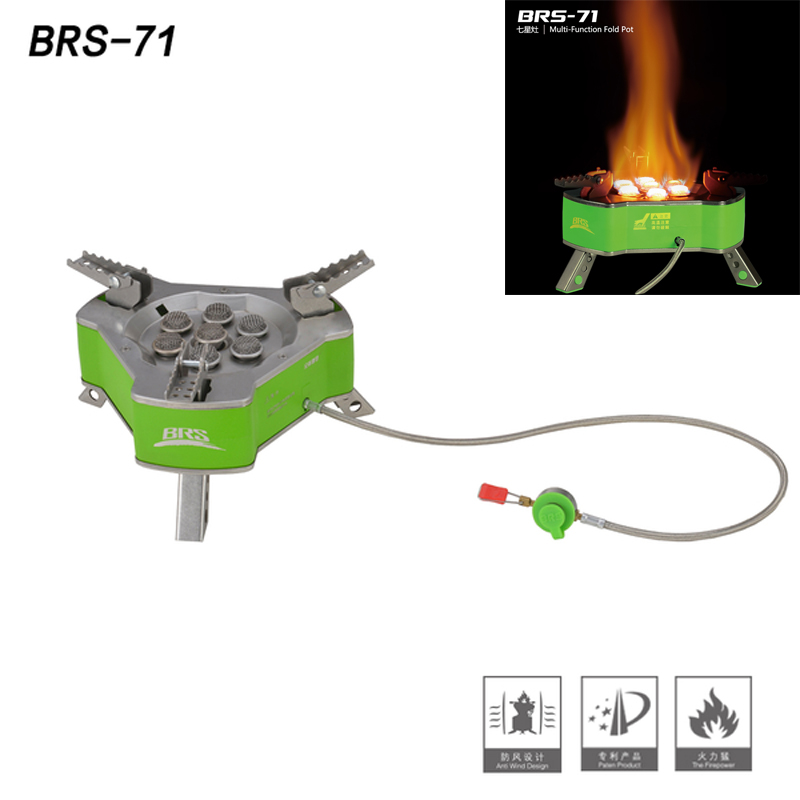 BRS-71 Outdoor Portable Gas Stove Camping Stove Gas Cooker Super 9800W Picnic Gas Stove Butane Gas Burner Bruciatore 1.27KG outdoor stove brs 11 gas burner camping stove gas cooker portable windproof hiking climbing picnic with adapter gas stove