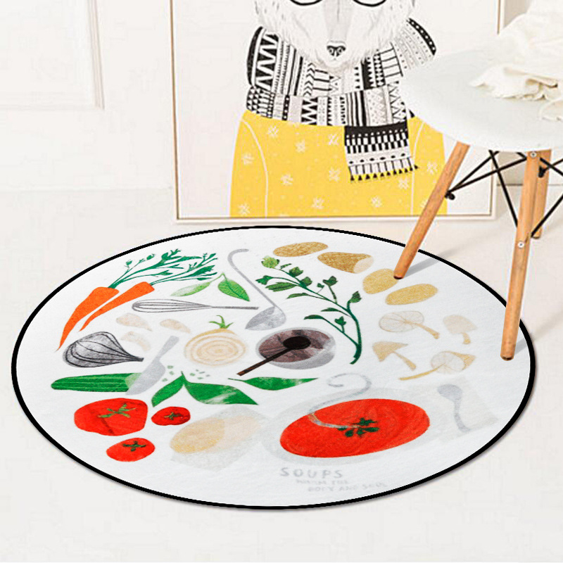 Funny Food Material Round Carpet Rugs Computer Chair Living Room Bedroom Decorative Floormat Non-Slip Tea Table Circle Carpets
