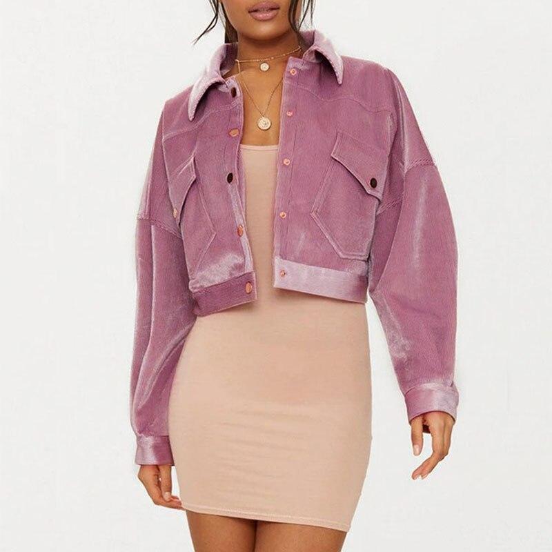 Female pink corduroy   jacket   short paragraph women's casual loose blouse students High street Vintage   Basic     Jackets   QT01