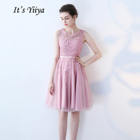 It's YiiYa Cocktail Dress Little Appliques Beading Pink Wedding Formal Dresses Flowers Illusion Knee Length Party Gown LX073 2