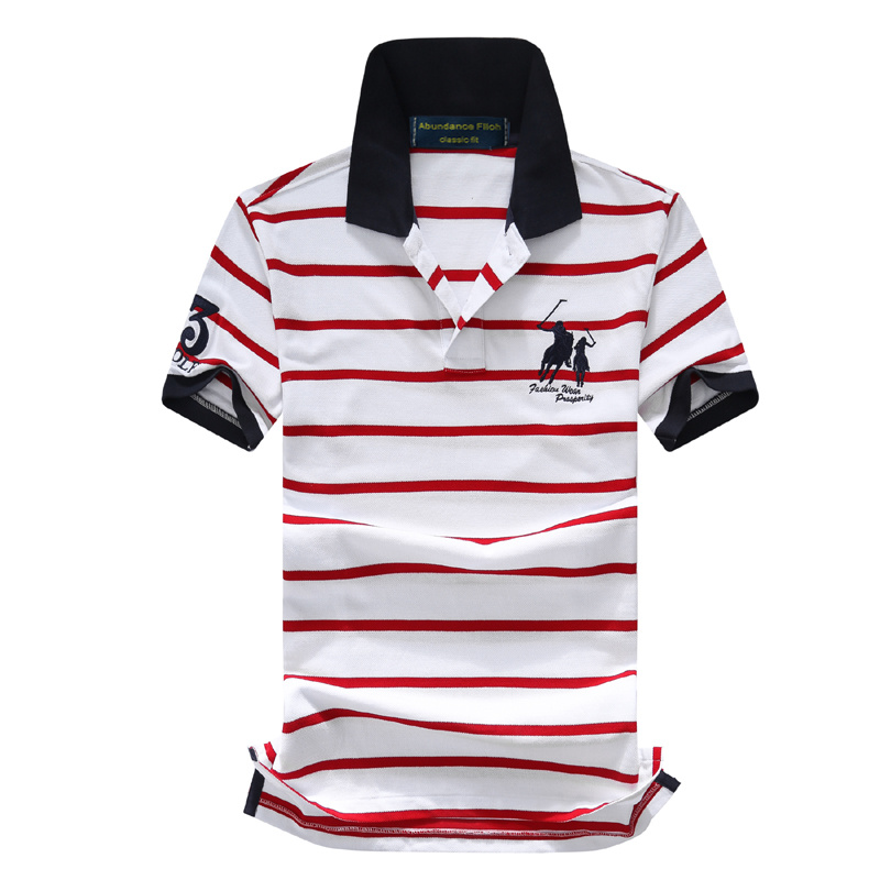 Men's embroidery striped   polo   shirt men's fashion neckline short sleeve cotton casual   polo   shirt style plus large   polo   Jersey T0