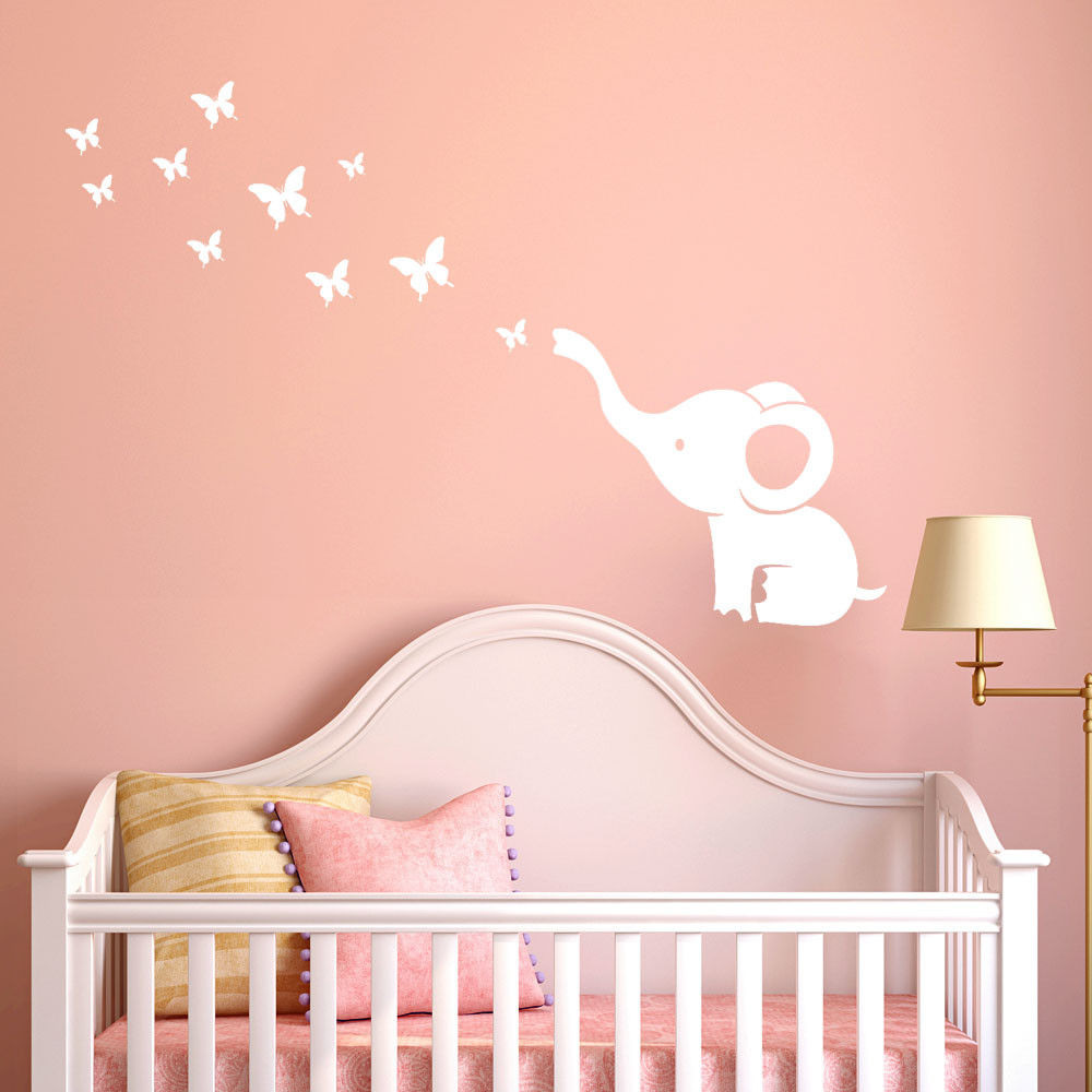 Wall Stickers For Kids Rooms Butterfly Elephant DIY Kids ...