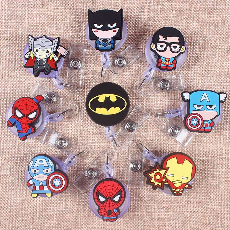 9 Color Styles Man Boy Hero Clown Retractable Soldiers Cartoon Badge Card Holder Reel Nurse Exhibition Enfermera Name Card Chest