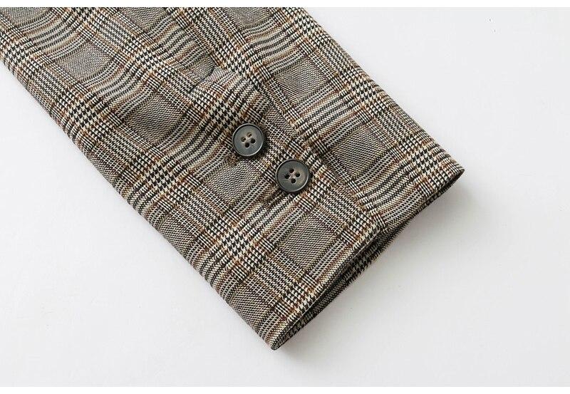 Set female 2018 spring and autumn new temperament lattice suit + high waist casual trousers fashion suit elegant two-piece