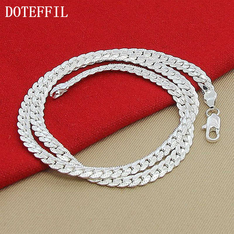 Nowości kobiety 6MM pełne boki 925 srebrny naszyjnik 925 srebrny kolor moda biżuteria kobiety łańcuszek męski Lady Gif