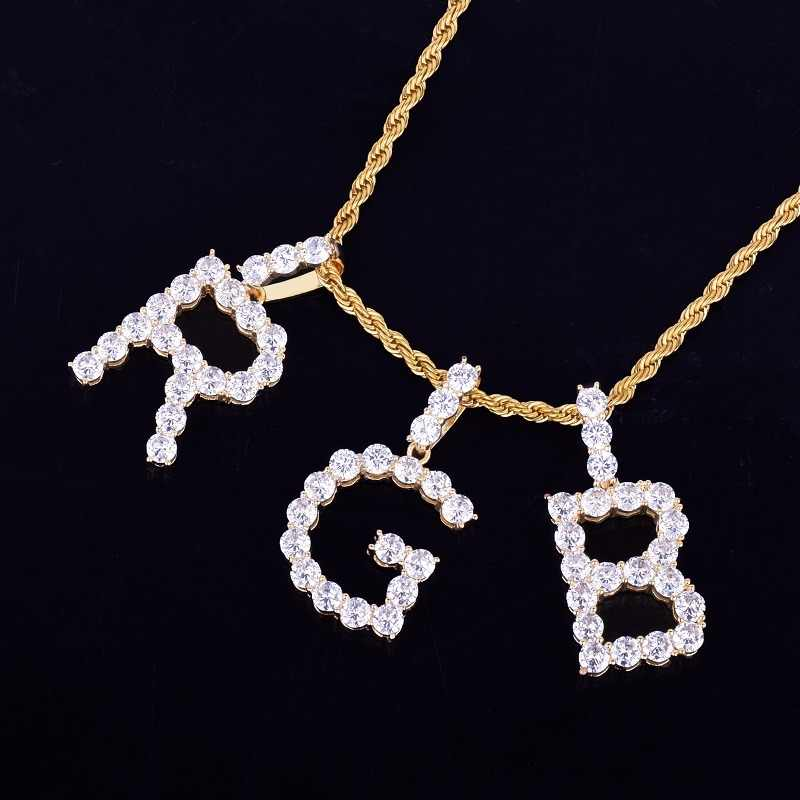 4cm x 2cm Zircon Tennis Letters Necklaces & Pendant Custom Name Charm For Men/Women Gold Silver Hip Hop Jewelry with Rope chain