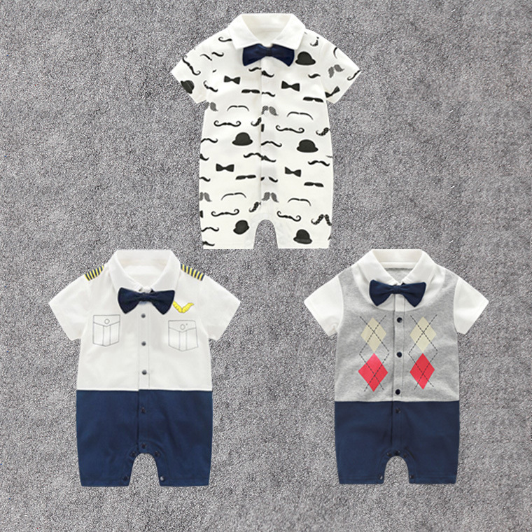 Newborn Baby Gentleman Clothes Summer Short Sleeve   Rompers   Beard Printed Clothing Bowtie Uniform Fashion Jumpsuit Baby Playsuit