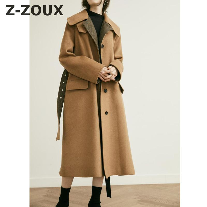 Z-ZOUX Women Coat Single Breasted Wool Coat Women Khaki Lace up Long Sleeve Woolen Overcoat All Match Loose Split Womans Coats