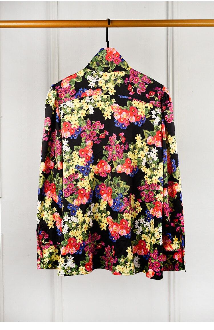 De Femmes Arc Collier Imprimé Magnifique Floral Manches 2018 Piste Longues Blouse Designer Élégant Chemisier Tops Chemise f5fYq1R