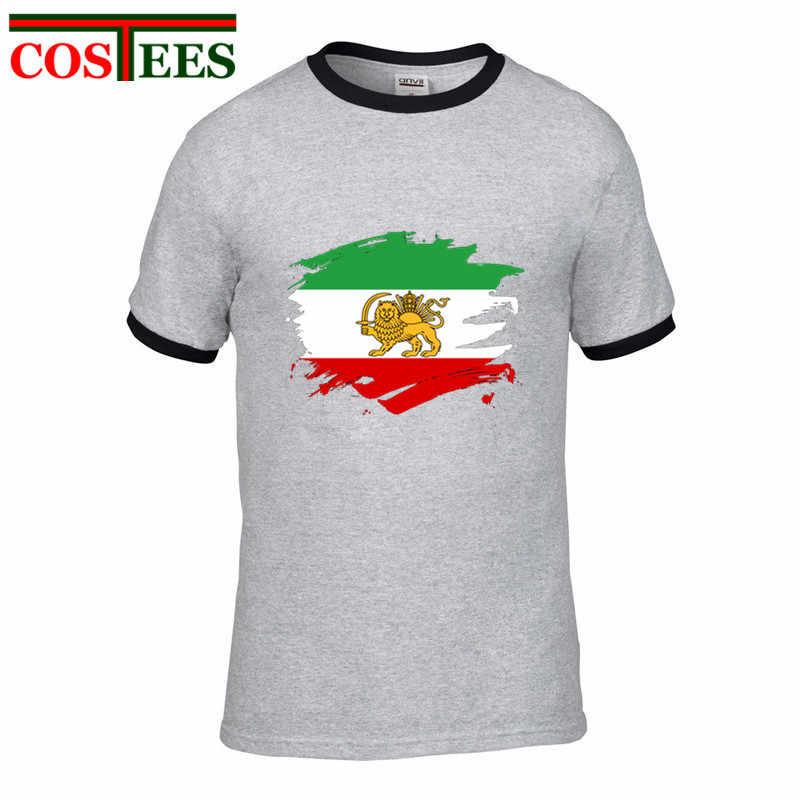 Vintage Persia pintura salpicadura bandera camiseta hombres persa orgullo diseño Retro camiseta Casual amantes patrióticos camisetas patriotismo
