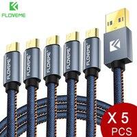 FLOVEME 5 pz/lotto cavo Micro USB originale 2.1A caricabatterie rapido sincronizzazione dati 30cm 1m 2m cavi telefonici per Samsung Xiaomi LG Android Cabo