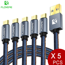 Floveme 5 개/몫 원래 마이크로 usb 케이블 2.1a 빠른 충전기 데이터 동기화 30cm 1m 2m 전화 케이블 삼성 xiaomi lg 안드로이드 카보