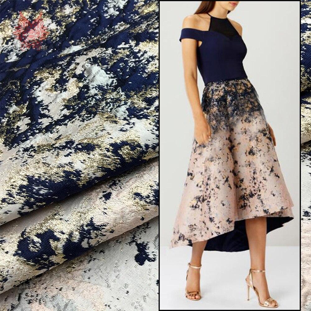 American style luxury graffiti positioning metallic jacquard brocade fabric for dress tissu tecidos stoffen telas yarn