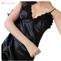 New Sexy Nightgown Women Lingerie Deep V Shoulder Strap Faux Silk Lace Floral Pyjamas Sleepwear Dress