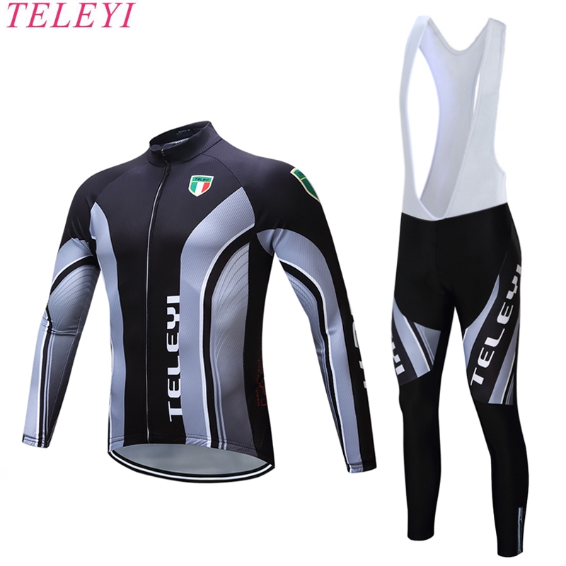 teleyi 2017 brand Mountain Bike Sportswear Bicycle MTB Breathable Clothing Sets Long Sleeve Cycling Jersey Set teleyi men cycling jersey bike long sleeve outdoor bike jersey bicycle clothing wear breathable padded bib pants set s 4xl