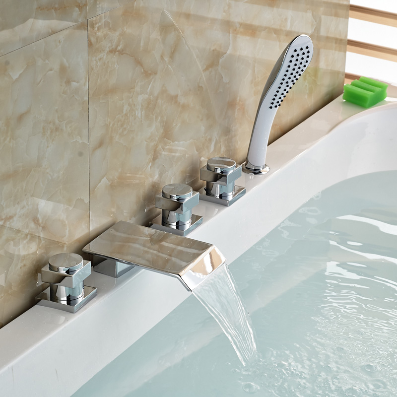 Deck Mount 5pcs Waterfall Bathroom Tub Faucet Chrome Brass Sink Mixer Taps with Handshower