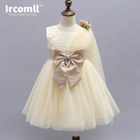 Kids Girls Dress For Party Birthday Wedding Princess Bow Champagne Color Ball Gown Toddler Infant Costume Dresses