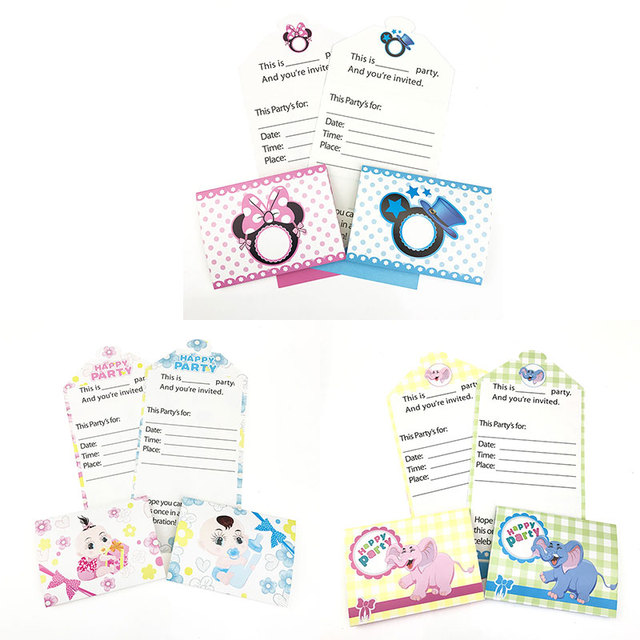 aliexpress  buy party elephant invitation cards mickey minnie, Baby shower invitation