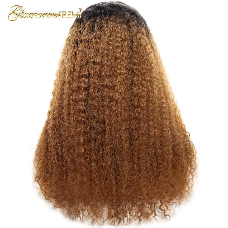 Кружевные передние бразильские человеческие волосы парик африканские кудрявые вьющиеся волосы remy Омбре коричневые кружевные передние парики с детскими волосами для черных женщин - 4