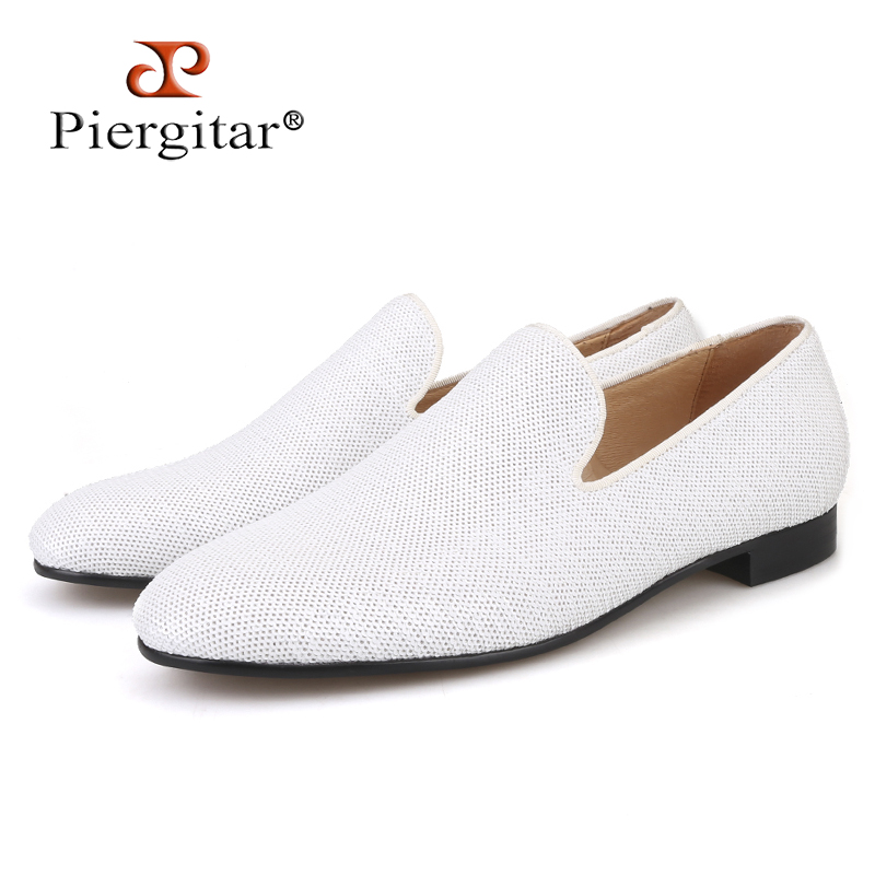 PIERGITAR 2019 Wedding And Prom White Colors Men Smoking Slippers Luxurious Glitter Handmade Men Loafers Plus Size Male Flats