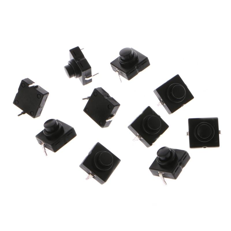 OOTDTY 10 pièces Lampe De Poche bouton de commutation 1A 30 V 2Pin CB-1212-112D Ultra-Mince Moyen Pieds