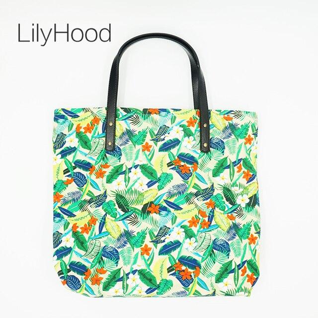 LilyHood Female Leisure Floral Printing Big Tote Bag Casual Top-Handle Cute  Fabric Book Beach Summer Overnight Weekend Handbags be54cfbc5ef7