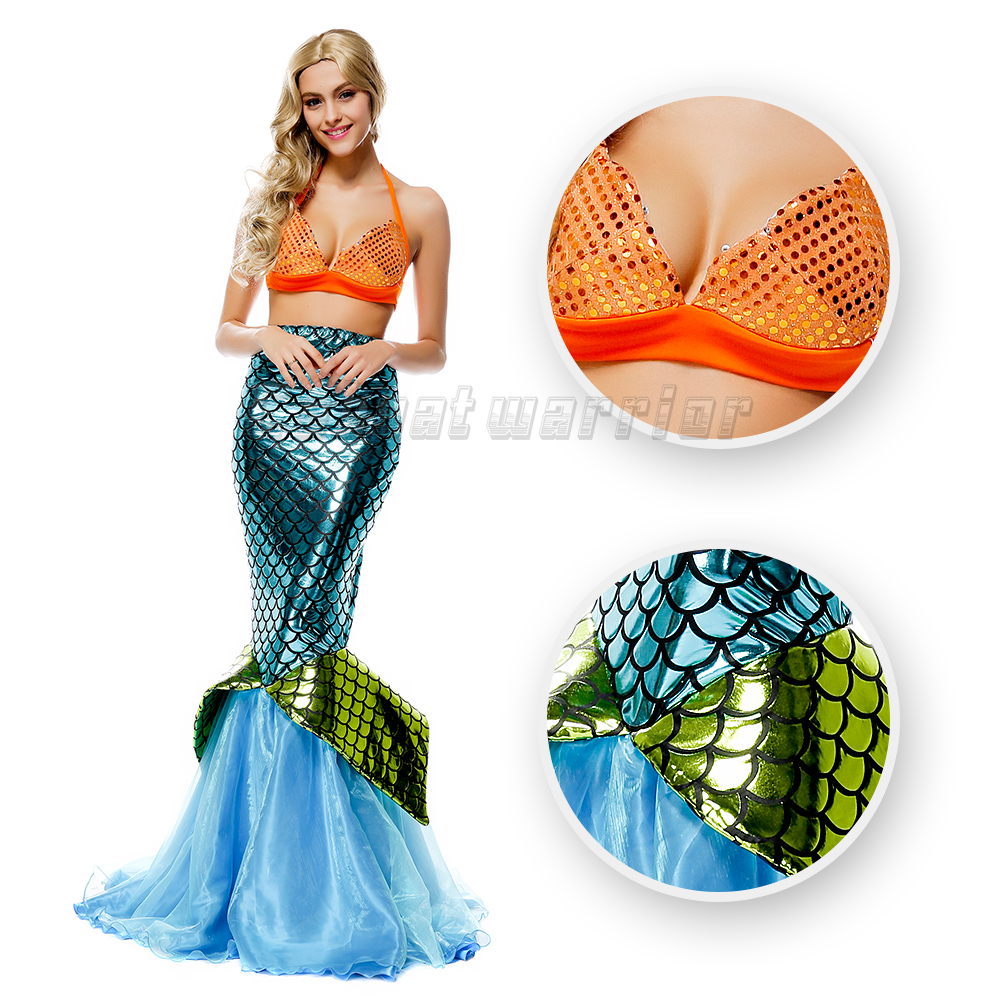 Generous Little Mermaid Tail Princess Ariel Cosplay Costume Mermaid Fancy Blue Sexy Dress With Bra For Adults Party Show