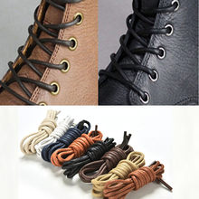 fashion casual leather shoelace 80cm Multi Color Cotton Waxed Round shoe laces(China)