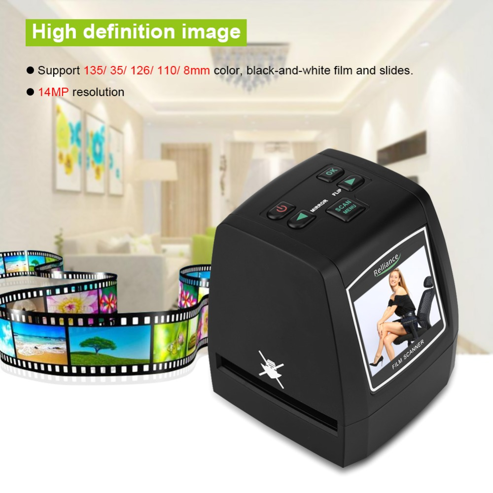 High Resolution Film Slides Scanner 14MP/22MP 135/35/126/110/8mm Digital Photo Color Black-White Positive Negative Film Scanner