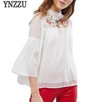 YNZZU Embroidery Floral Elegant Chiffon Blouse Shirt Women Black Lace Blusas 2018 Spring Summer Flare Sleeve