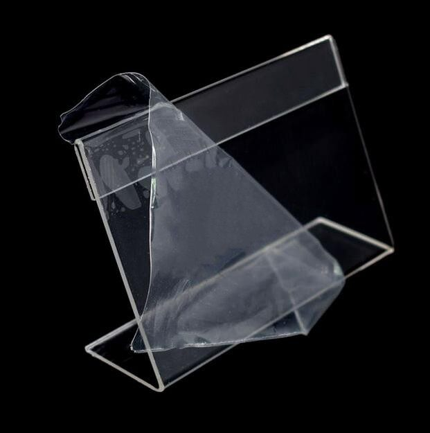 6x4cm L  Shape Clear Acrylic Table Sign Price Tag Desk Label Frame Display  Paper Promotion Card Holder Stand 20pcs