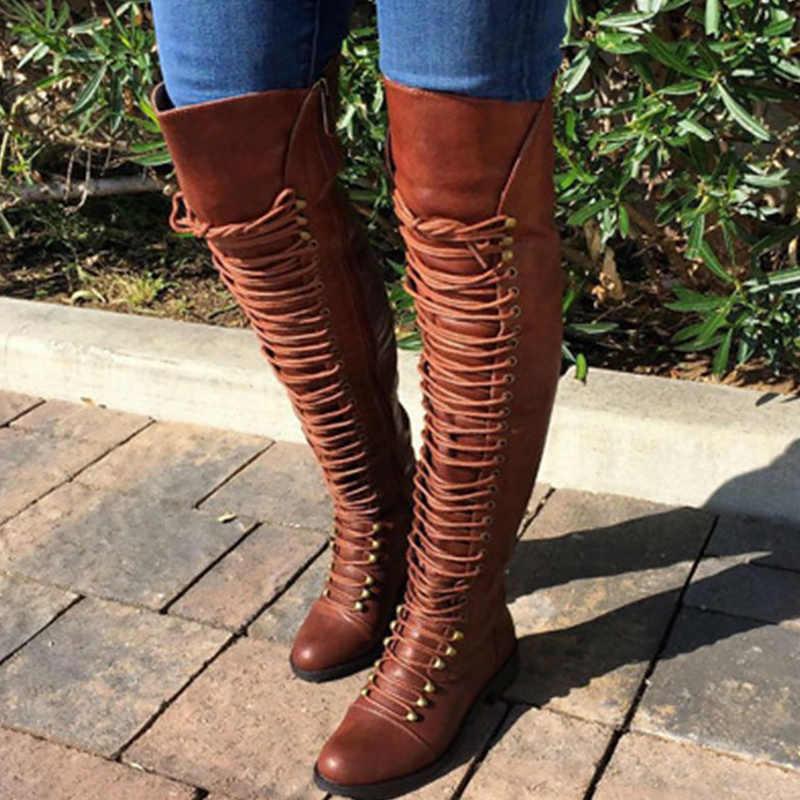 Moda uzun çizmeler kadın ilkbahar/sonbahar artı boyutu 42 43 PU toynak topuklar üzerinde diz çizmeler bayanlar yuvarlak ayak çapraz bağlı
