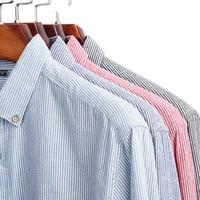 Plyesxale Striped Shirt Men 2019 Pink Gray Blue Mens Shirts Casual Slim Fit Mens Dress Shirts Long Sleeve Pure Cotton Chemise T6