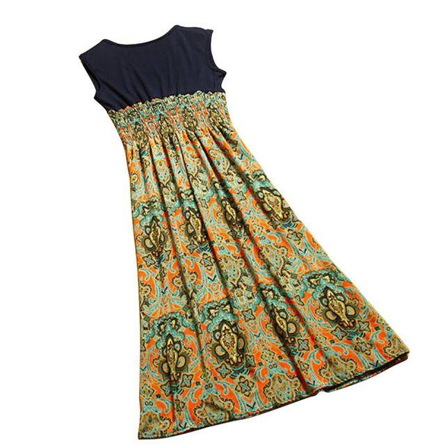 WJ Hot Selling Delicate 2016 Summer Style Women Flower Floral Print Bohemia Sleeveless Vest Long Beach Dress for Ladies