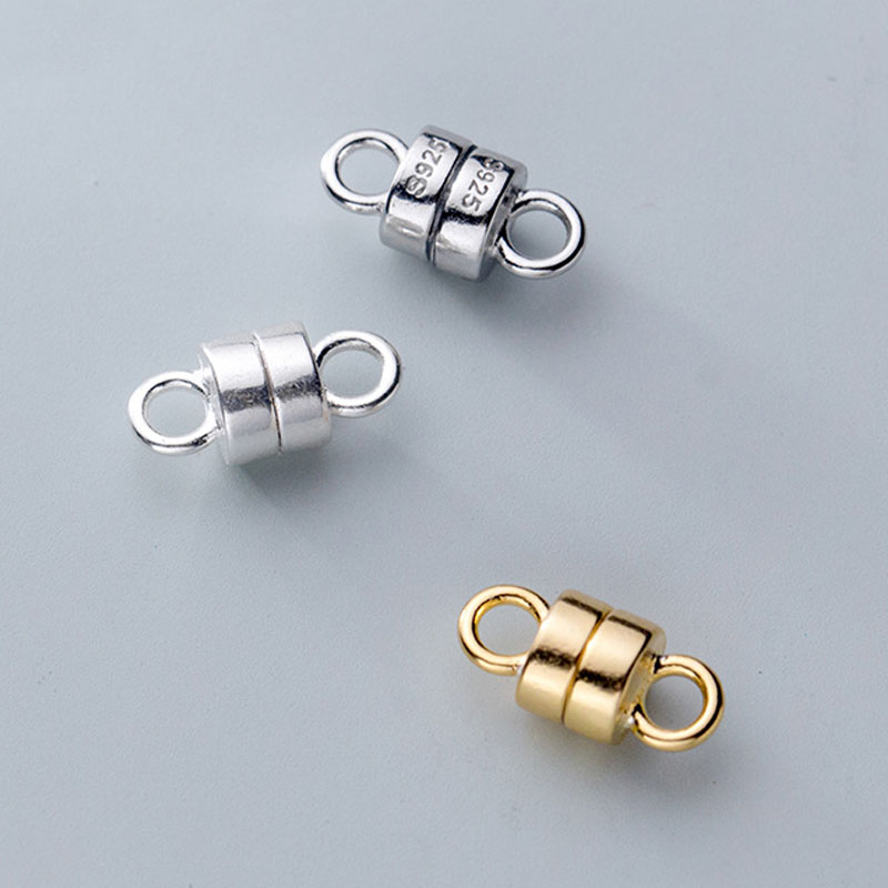 Round Magnetic Clasps Black Brass 6x11.5mm  5 Pcs Findings DIY Jewellery Making