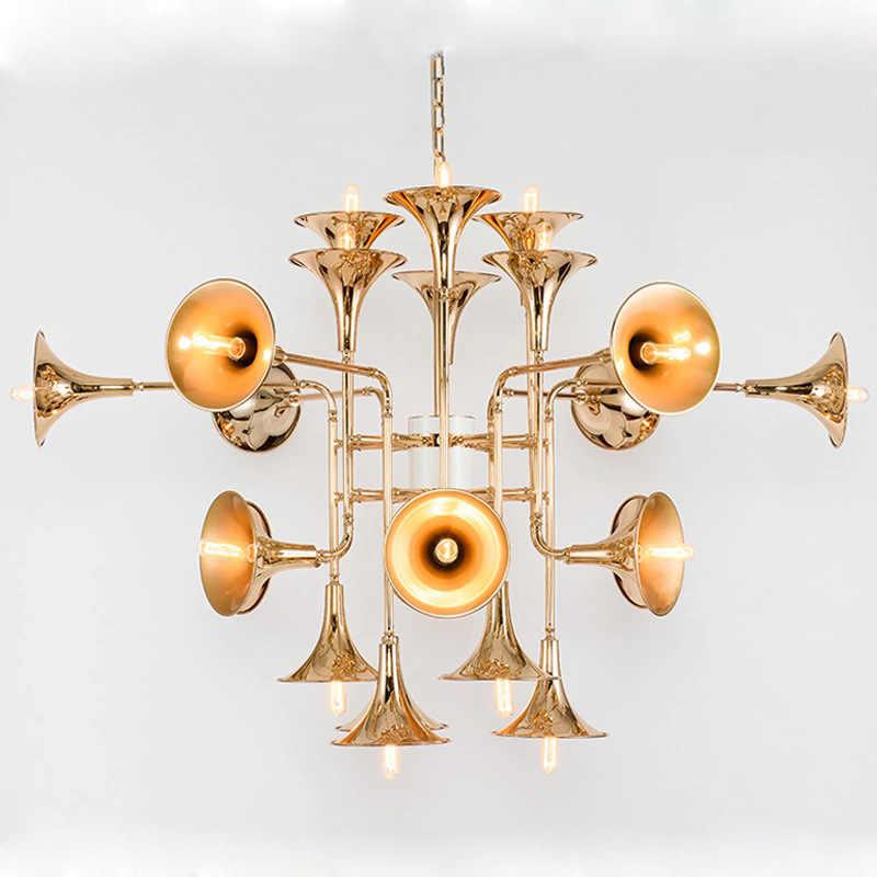 Современный delightfull botti позолоченная труба подвесные лампы винтажный Ретро Длинный трубчатый Рог подвесной светильник для гостиной