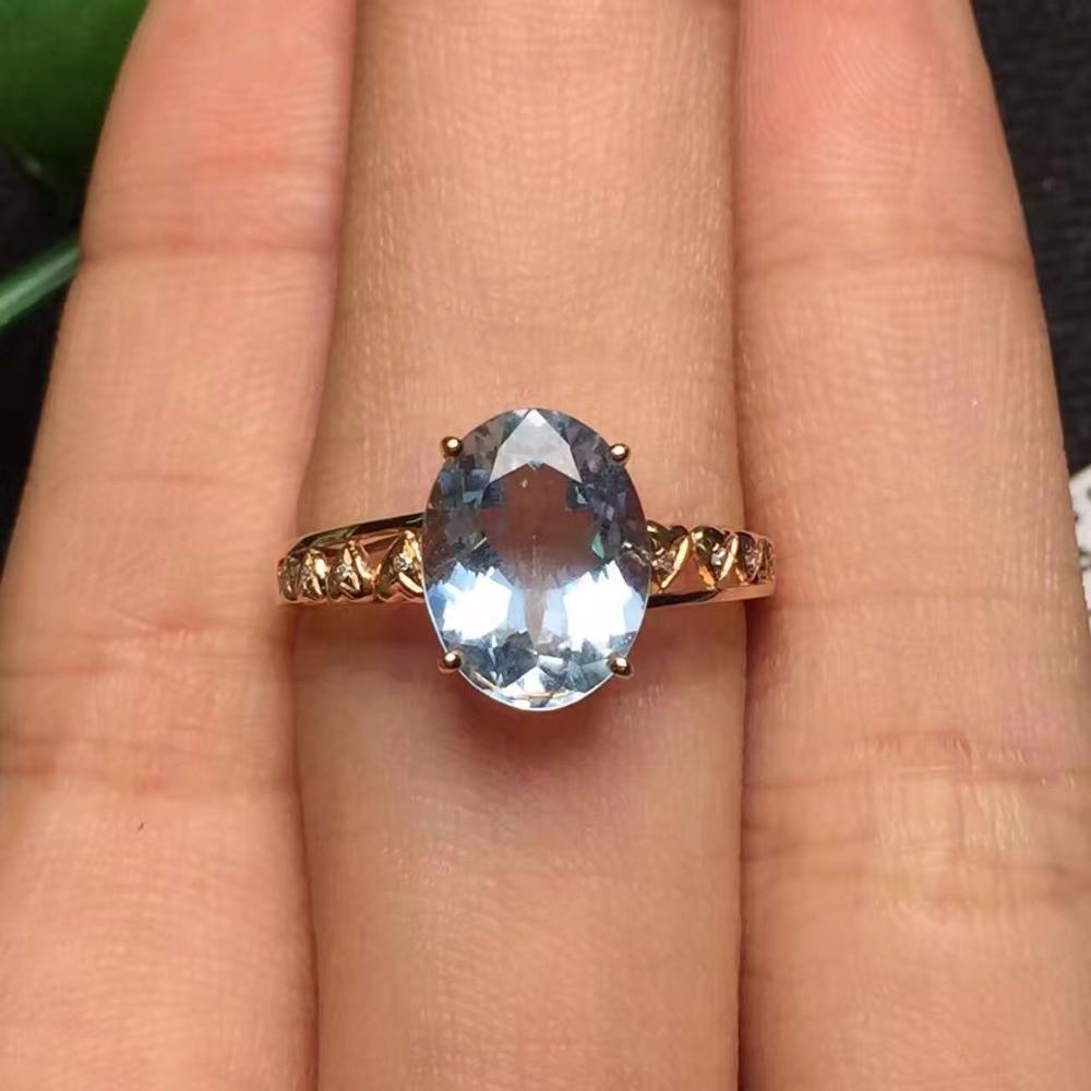 Fine Jewelry Real 18K Rose Gold AU750 Customized Size Natural Aquamarine Gemstones Diamonds Female Anniversary Gift Fine Rings