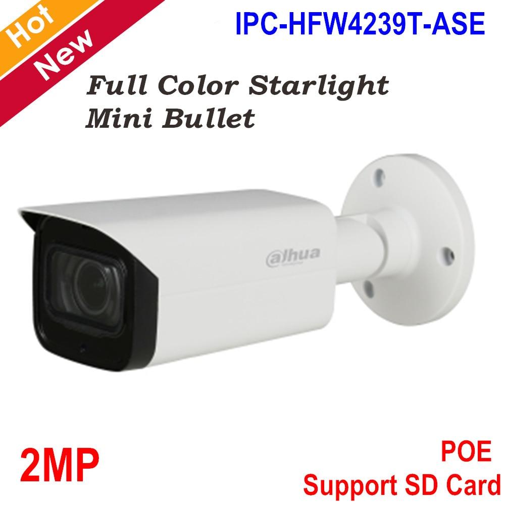Dahua 2MP IP Camera Full Color Starlight Mini Camera H.265 Support Smart Detection And POE WDR Bullet Camera IPC-HFW4239T-ASE