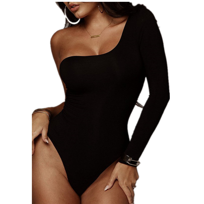 Long Sleeve Black Sexy One Shoulder Spring Bodycon One Piece Body Mujer Bodysuit Women Bodies Ladies 2020 Streetwear Clothes