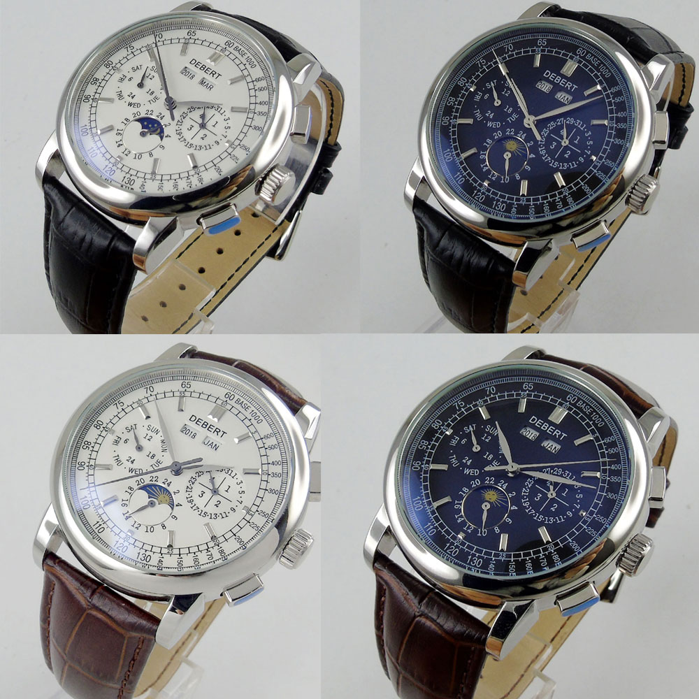 42mm men s watch Multifunction Moon phase display silver hand date week display leather strap Automatic