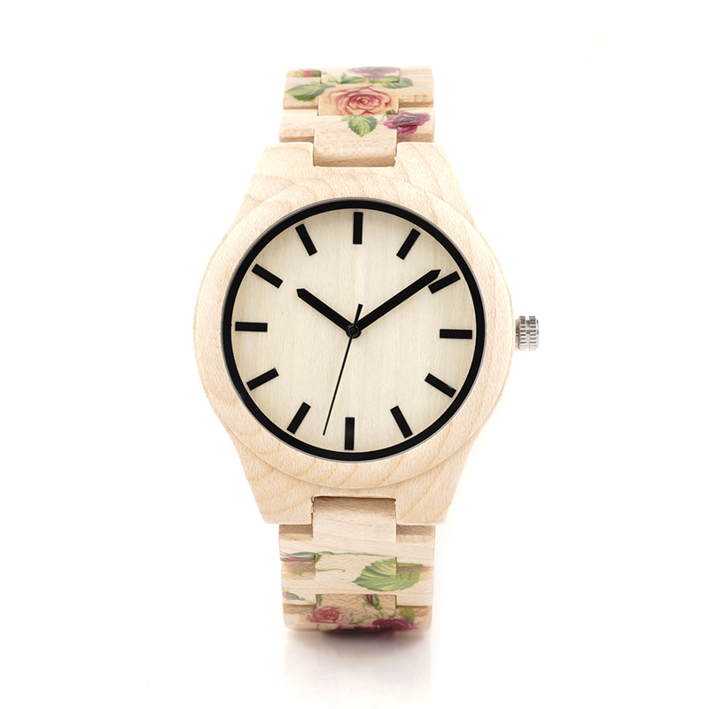 ФОТО BOBO BIRD L26 UV Tech Rose Flower Print Maple Wooden Wristwatch Mens Brand Designer Quartz Watch with wooden Strap in Gift Box