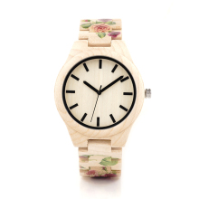 BOBO BIRD L26 UV Tech Rose Flower Print Maple Wooden Wristwatch Mens Brand Designer Quartz Watch with wooden Strap in Gift Box