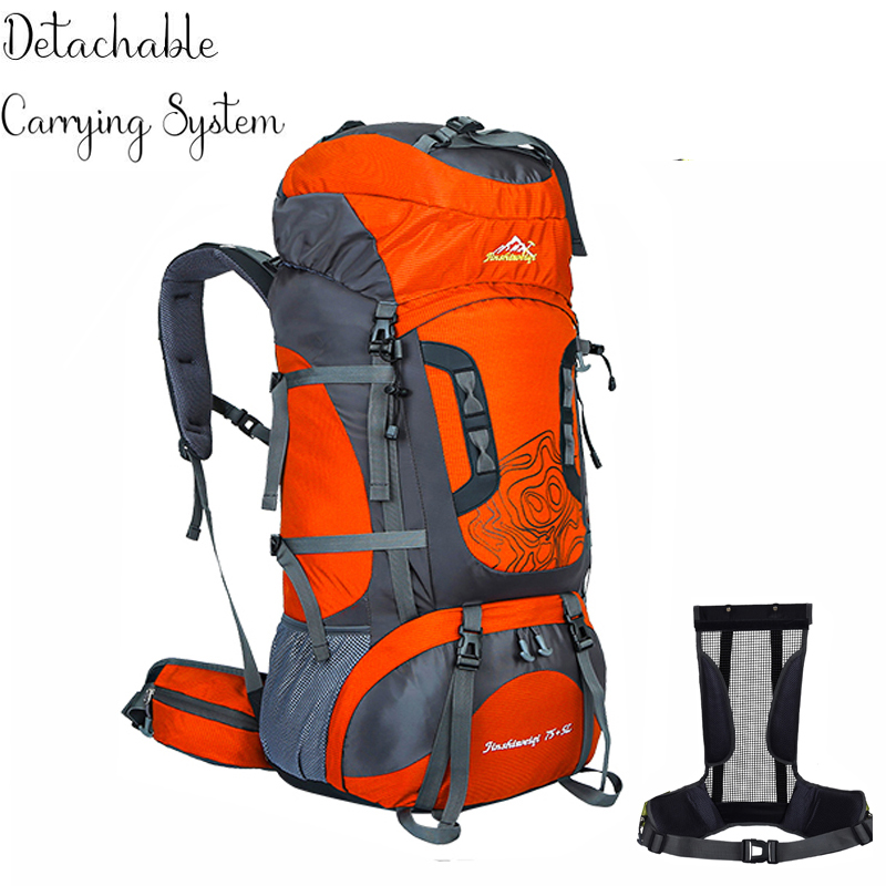 80L Unisex Outdoor Trekking Backpack Travel Bags Detachable Carrying System Waterproof Nylon Sports Bag Outdoor Hiking Backpacks цена