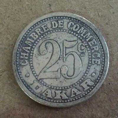 1920 Senegal 25 Centimes Dakar Silver Plated Coin 27mm Smooth Token