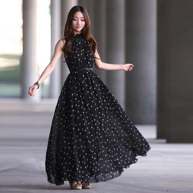 2017 Женская Мода горошек Макси dress лонг Повседневная Summer Beach Шифон Платья стиль дешевые vestidos