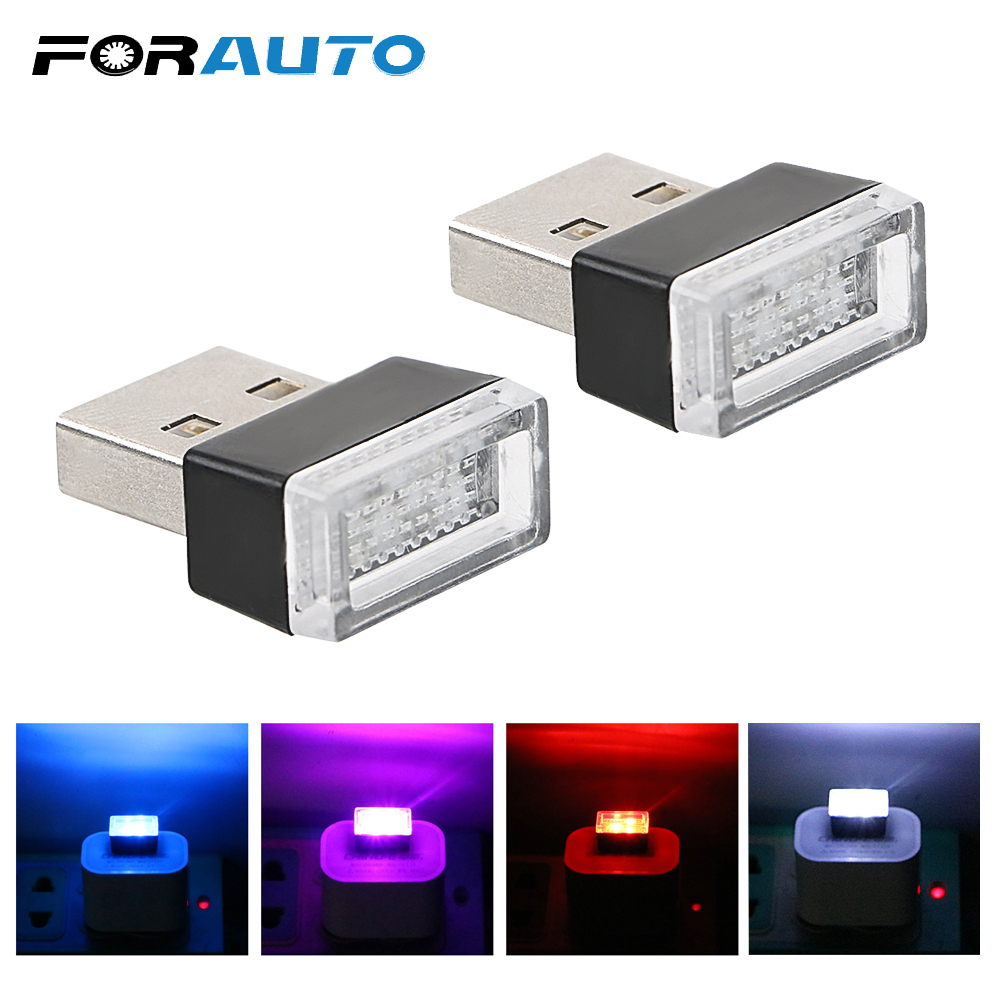Emergency Lighting Car-styling For Car Cigarette Lighter PC Car LED Atmosphere Lights 4 Colors With USB Sockets Decorative Lamp
