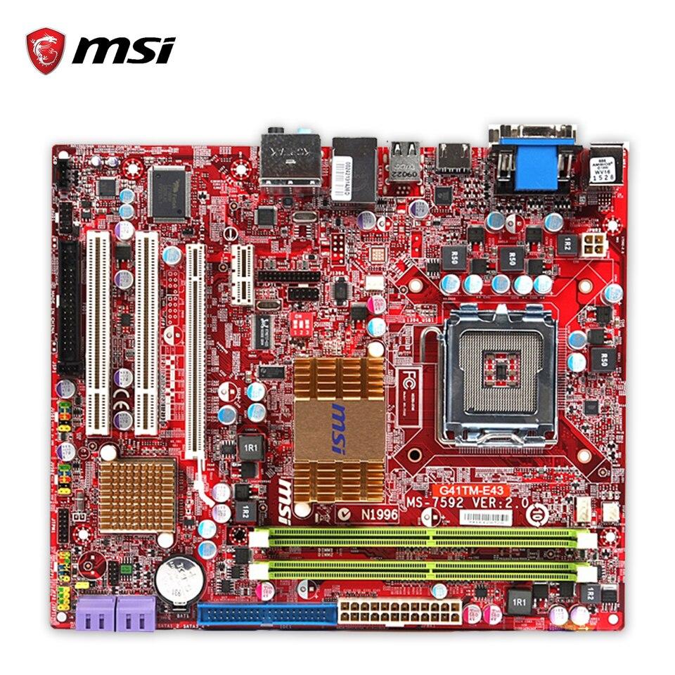 Original MSI G41TM-E43 Desktop Motherboard G41 Socket LGA 775 DDR2 8G SATA2 USB2.0 Micro-ATX 100% Fully Test msi g41tm e43 original used desktop motherboard g41 socket lga 775 ddr2 8g sata2 usb2 0 micro atx